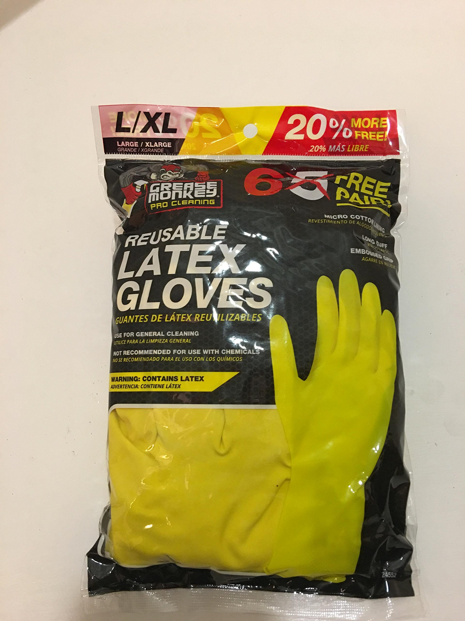 Professional Cleaning Reusable Latex Gloves 6 Pair (Yellow, large)