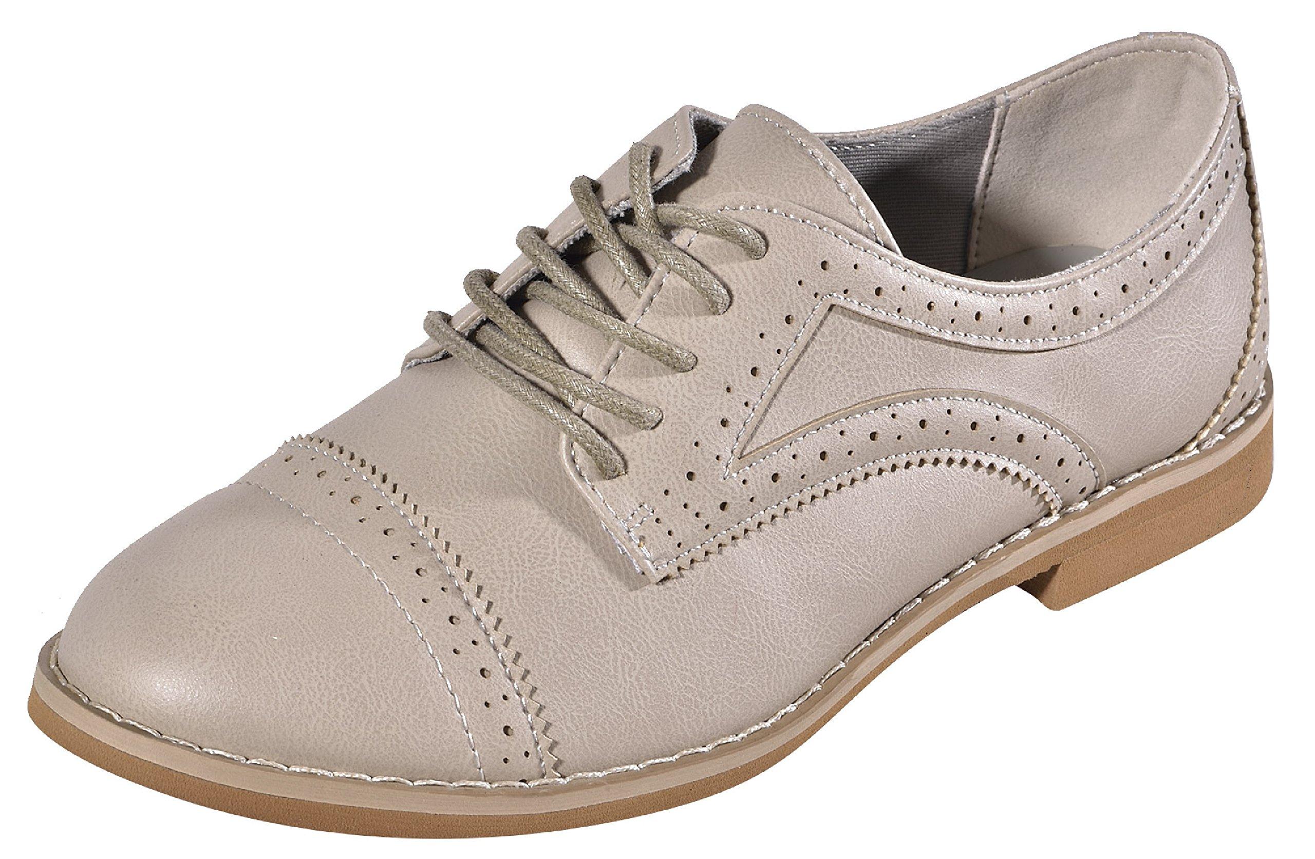 Summer Clearance Sale Top Elegant Alyn Gray Faux Leather Oxford Laceup Best Round Toe Small Heel Flex Flat Wingtip Office Dressy Light Fall Sneaker Shoe Women Teen Girl (Size 8, Gray)