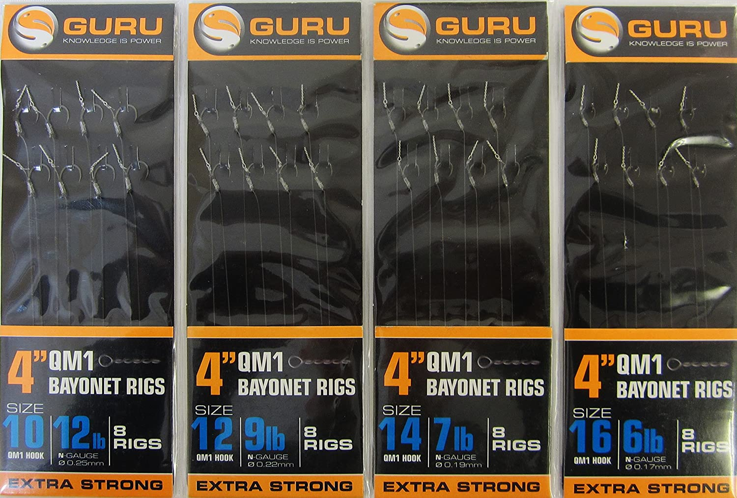 also comes with 10 FTD Hooks to Nylon of GURU QM1 Fishing Hooks Ready Tied to 4 inch ins // 10cm Hooklengths with BAYONETS FTD available in Size 10, 12, 14 /& 16 2 Packs of 8 Min 16 Rigs