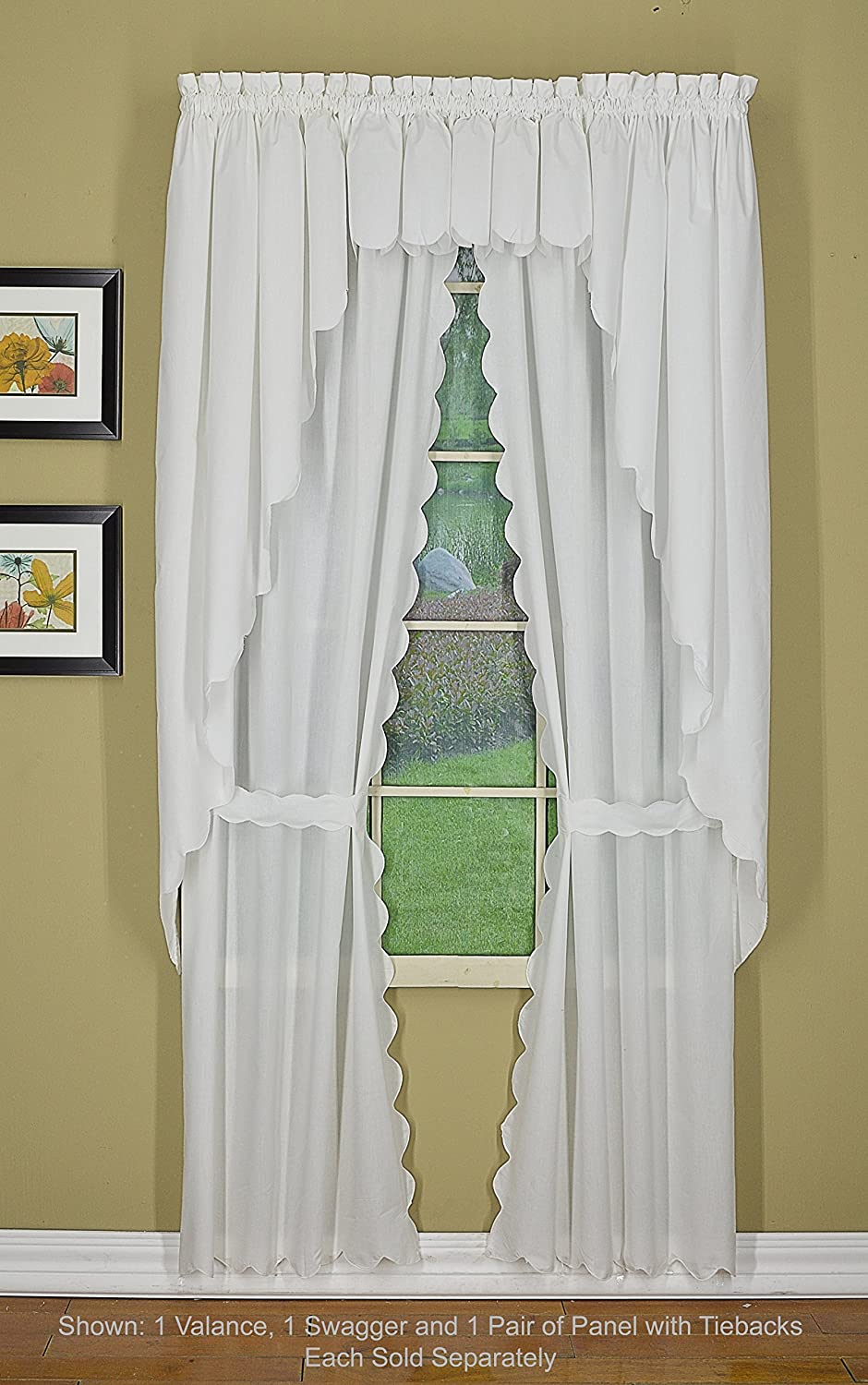 Todays Curtain Orleans 63 Swagger Pair Tambour Scallop Edge Curtain 80 W X L White