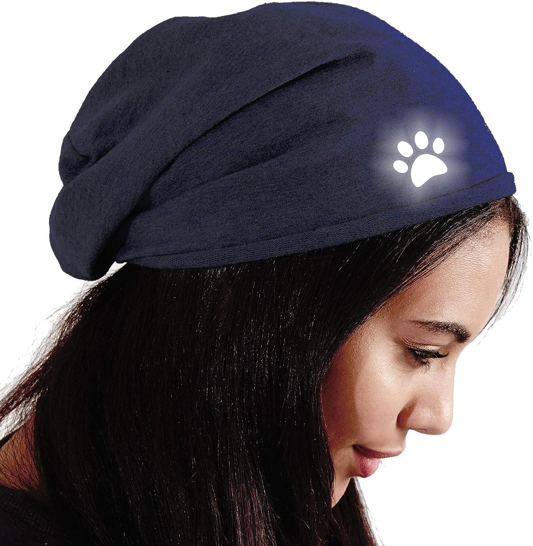 Roughtex Beanie Baumwolle Damen reflektierend leichte Jersey M/ütze mit Reflex Aufdruck Hund Gassi