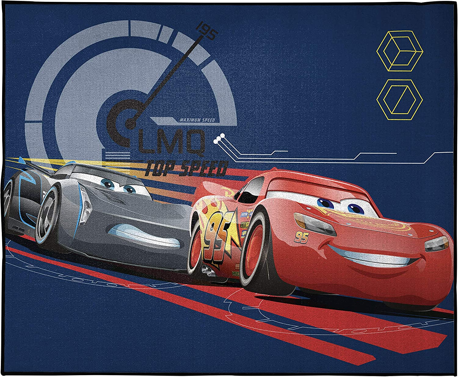 Disney Pixar Cars Max Throttle Kids Room Rug - Large Area Rug Measures 4 x 5 Feet - Features Lightning McQueen & Jackson Storm (Offical Disney Pixar Product)