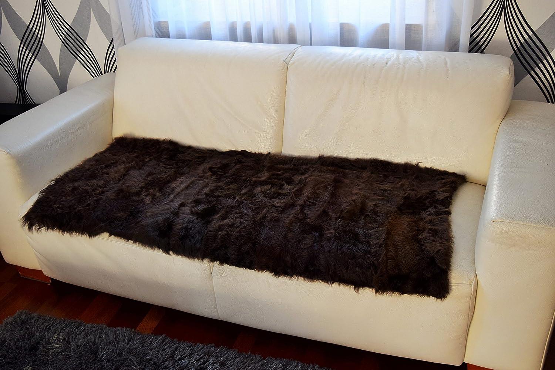 Felldecke, Tagesdecke, Überwurf aus echtem Chekiang Lammfell, Rückseite mit Stoff abgefütter, Hochwertig und Exklusiv! Cottage, Lounge Style für Wohnzimmer, Schlafzimmer und vieles mehr (Braun, 70 x 140 cm)
