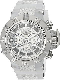 Invicta Mens Subaqua Quartz Stainless Steel and Silicone Casual Watch, Color:White