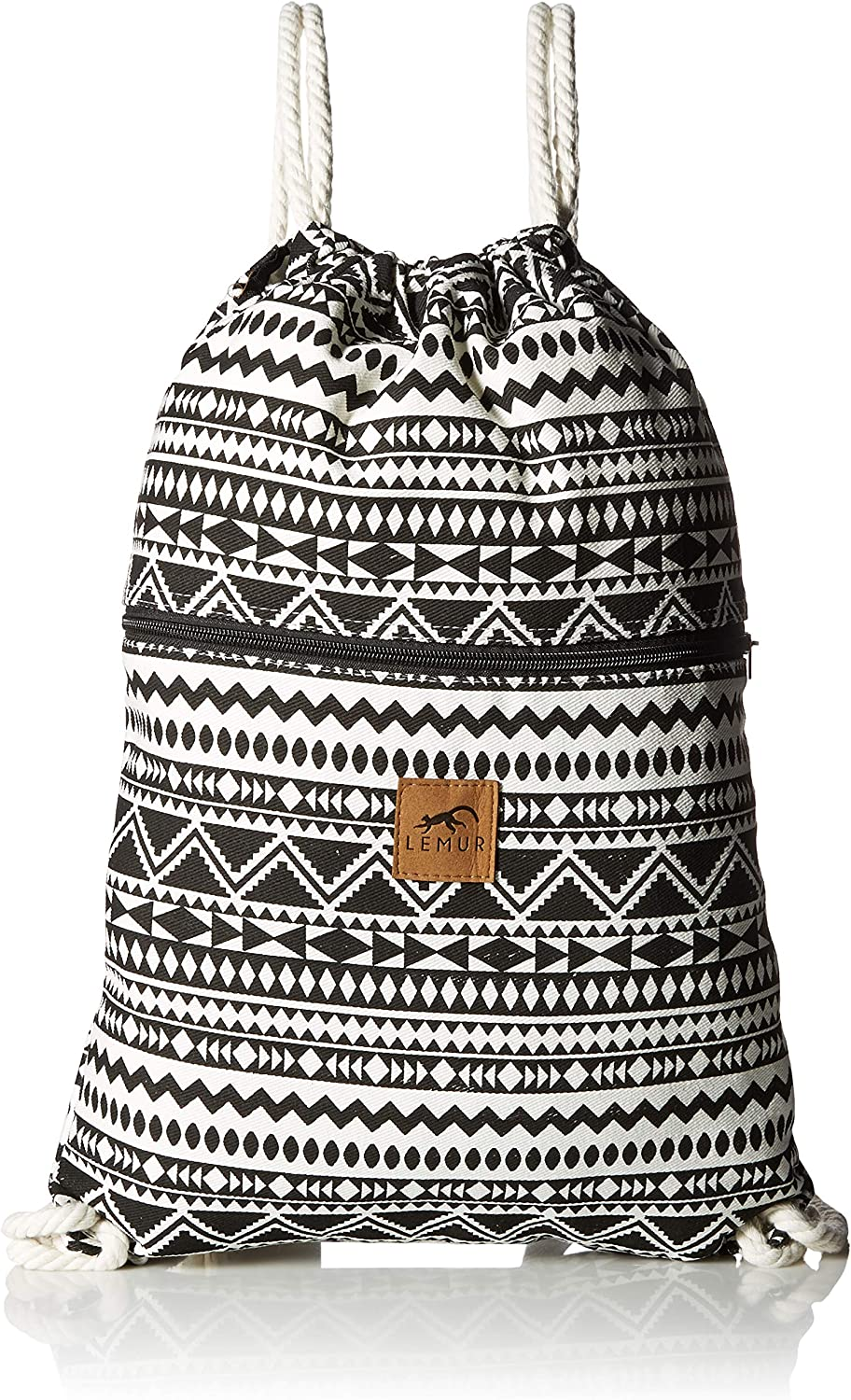 LEMUR Bags - Durable Canvas Drawstring Backpack with Secure Zippered Pocket (Aztec Tribal)