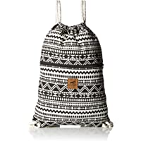 Canvas Drawstring Backpack - Eco-Friendly Day Bag, Gym Sack Pack, Cinch Bag with Thick, Soft Cotton Ropes by Lemur Bags (Aztec Tribal)