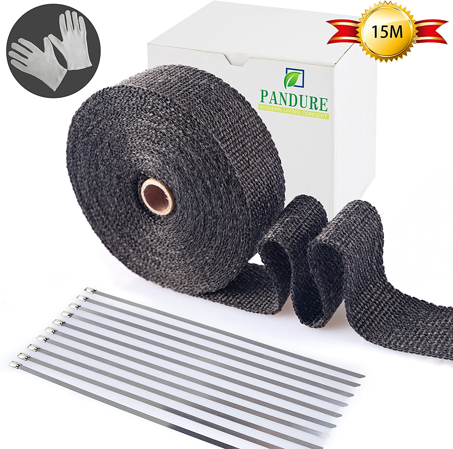 5CM X 5M Titanium Lava Exhaust Header Pipe Heat Wrap Stainless Ties Kit Car