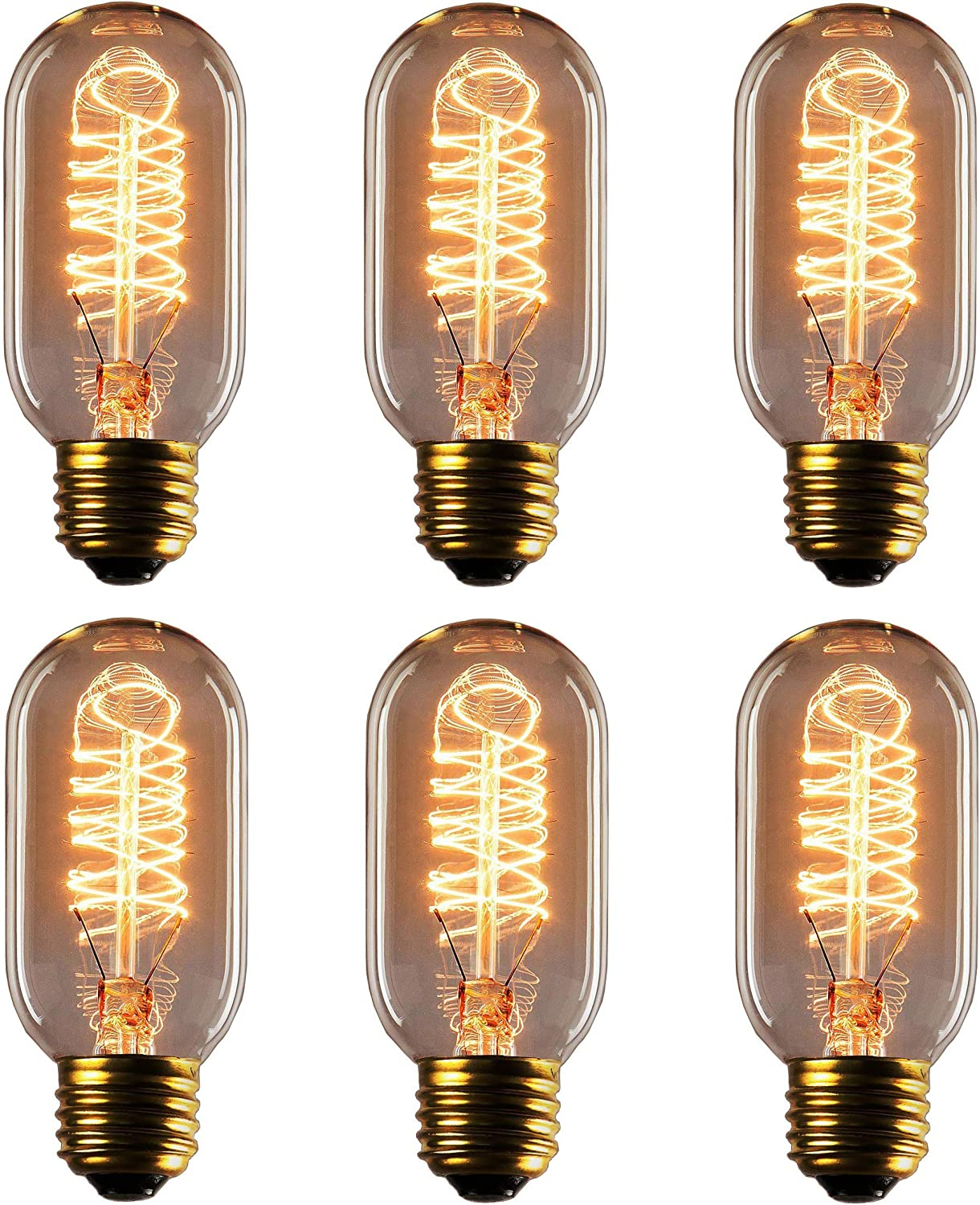 Rolay T45 Edison Style Square Spiral Filament Incandescent Light Bulb 6 Pack Vintage Edison Bulbs 25 Watts, 6 Pack