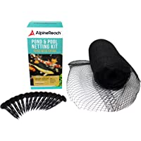 AlpineReach Pond & Pool Netting - Dense Fine Mesh Heavy Duty Net - Cover for Leaves - Protects Koi Fish from Birds, Blue Heron, Cats, Predators UV Protection All Accessories Stakes Included