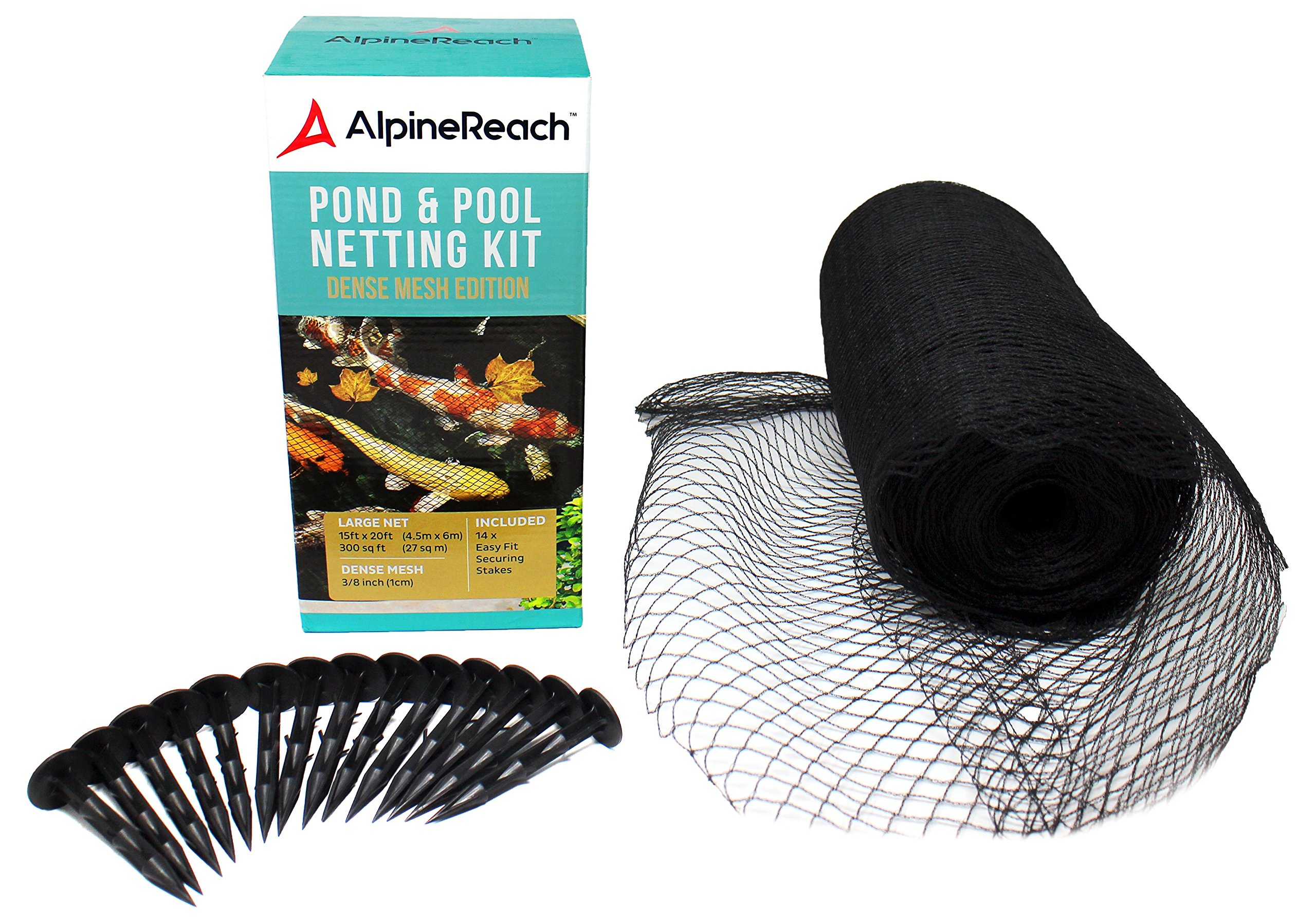 AlpineReach Pond & Pool Netting 14 x 14 ft - Dense Fine Mesh Heavy Duty Net - Cover for Leaves - Protects Koi Fish from Birds, Blue Heron, Cats, Predators UV Protection All Accessories Stakes Included