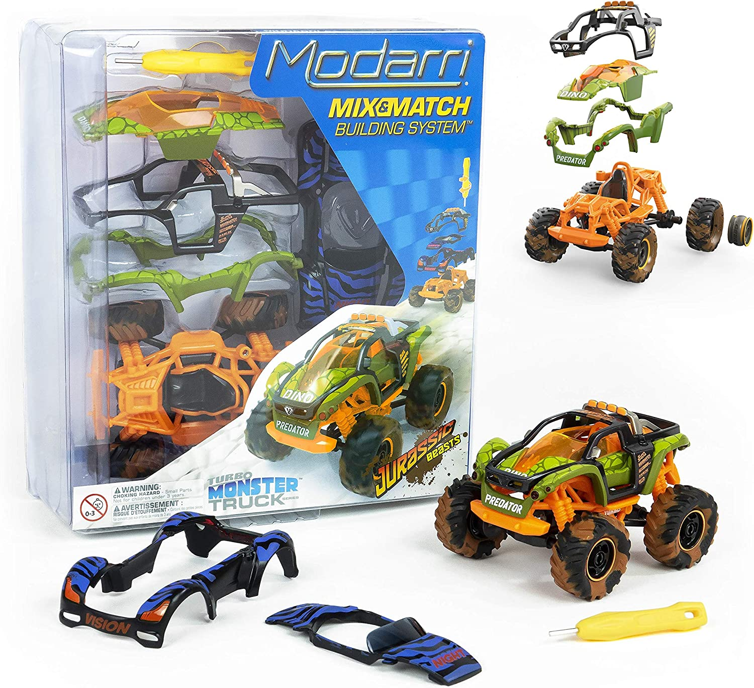 Modarri M1 Jurassic Beasts Monster Truck | Build Your Car Kit Toy Set - Ultimate Toy Car: Make Your Own Car Toy - for Thousands of Designs - Educational Take Apart Toy Vehicle