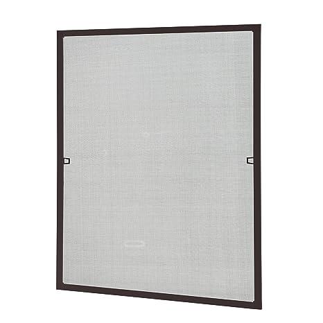 [casa.pro] Mosquitera con marco 80x100 cm marrón - acortable - para ventana - protección contra insectos - no necesita atornillar ni agujerear