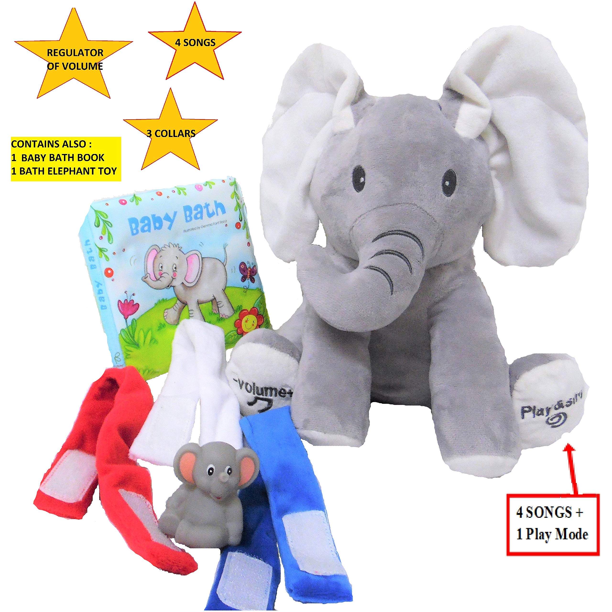 Animated Elephant Plush Toy for Boys, Girls, Kids and Baby- Cute Stuffed Animal, Doll Singing 4 Songs, with Regulator of Volume and 3 Collars; Bonus: 1 Elephant Bath Book + 1 Little Elephant Bath Toy by KIDIGREAT