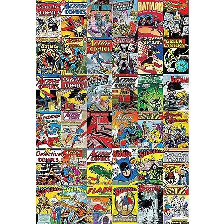 1 Wall Vintage Classic DC Comic Superhero Feature Wallpaper Mural Wood Multi Colour