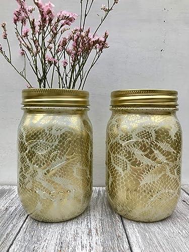 Amazon Com Set Of 2 Ivory And Gold Pint Mason Jars For Home Decor