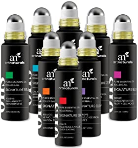 ArtNaturals Essential Oils Rollerball Blends - (8 x .33 Fl Oz / 10ml Roller Bottles) - Aromatherapy Roll On Gift Set - Jojoba Oil - Sleep and Stress – Signature 2018 Collection