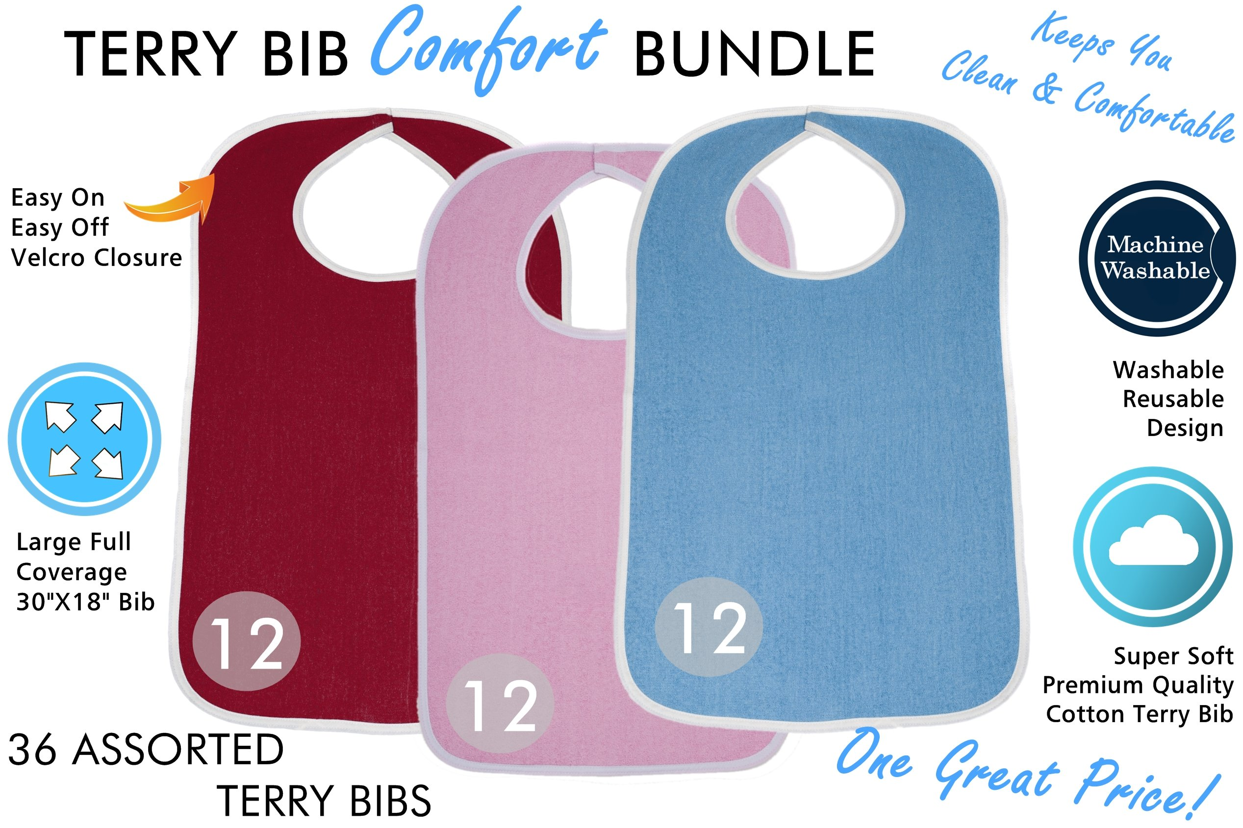 Terry Cloth Adult Size Senior Bib Value Pack with Hook & Loop Closure - Elderly Men and Women Food Catcher Solutions (Assorted Pack 2, 36 Pack) by ComfortFinds (Image #3)