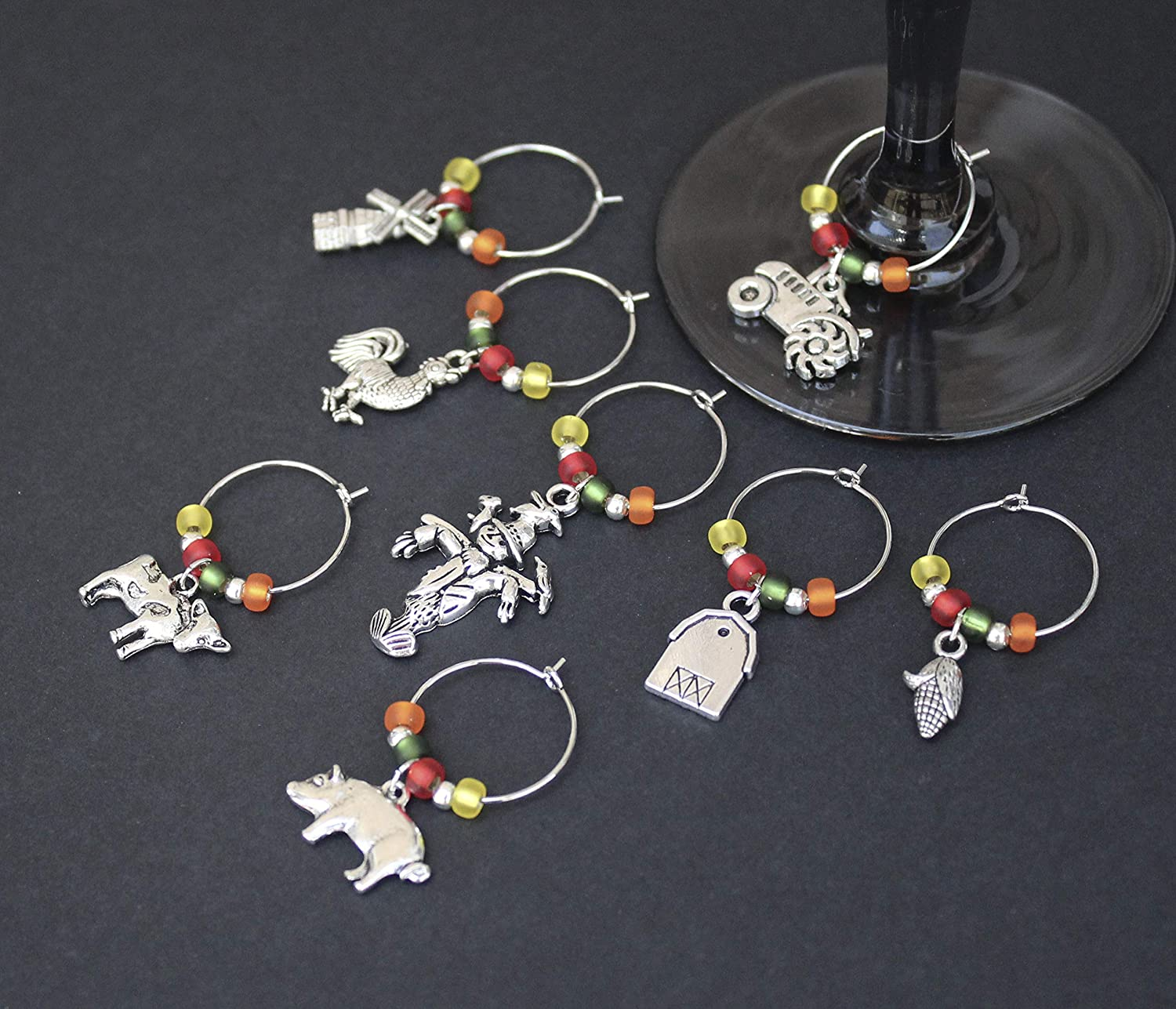 Farm-Country-Wine Glass Charms-Set of 8