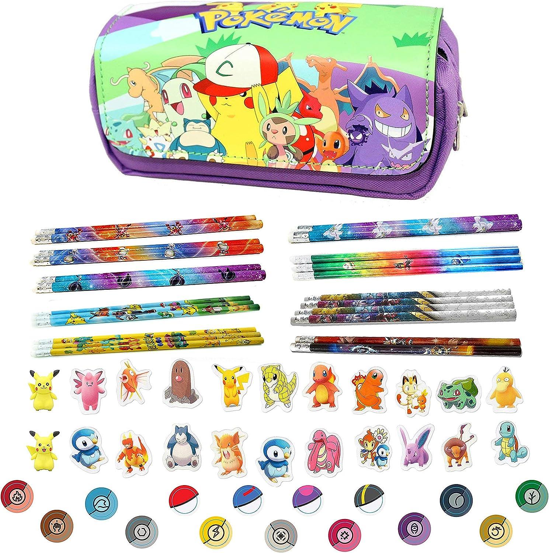 Baken Pokemon Pikachu - Estuche con 3 lápices de Pokémon y gomas de borrar, color morado: Amazon.es: Oficina y papelería