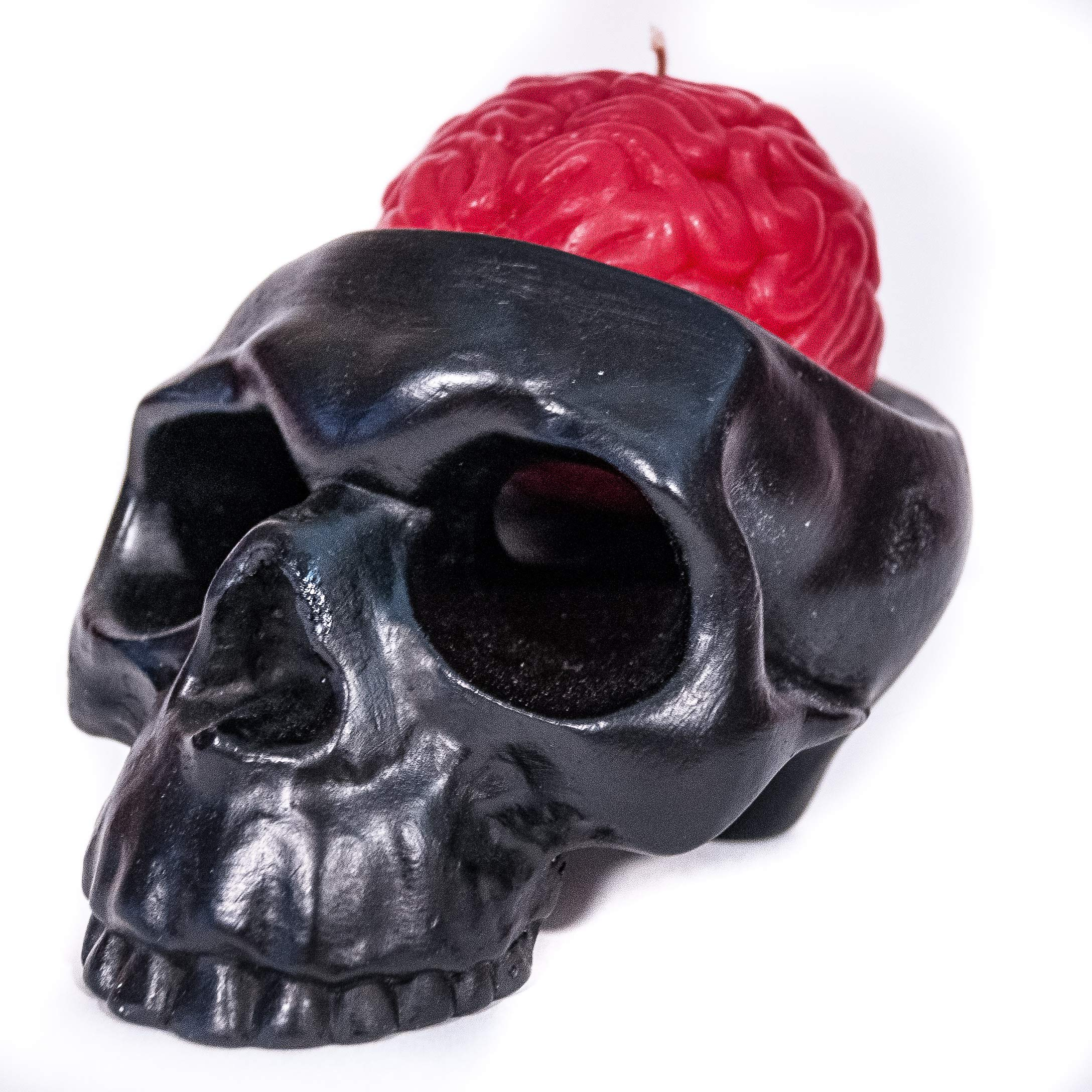 Handmade Novelty Crying Skull Candle Holder with a Brain Candle (Black/Red)