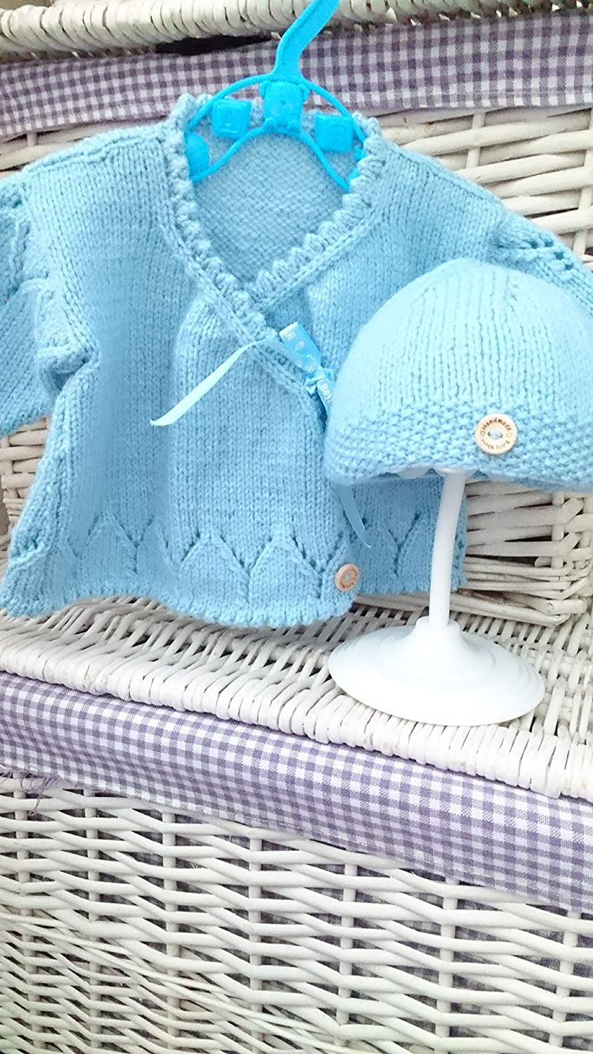 brand new hand knitted baby cardigan and Bobble Hat Baby Blue 0-3 months