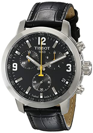 b546a63c5 Tissot Men's TIST0554171605700 PRC 200 Chronograph Stainless Steel Watch  with Black Leather Band