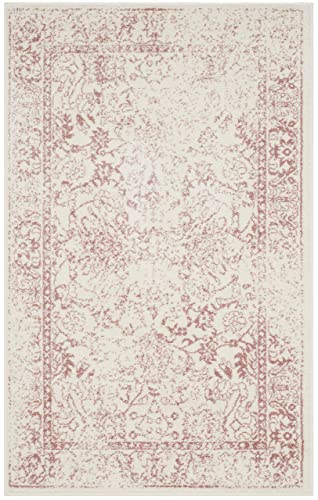 Safavieh Adirondack Collection ADR109H Ivory and Rose Oriental Vintage Distressed Area Rug 3 x 5