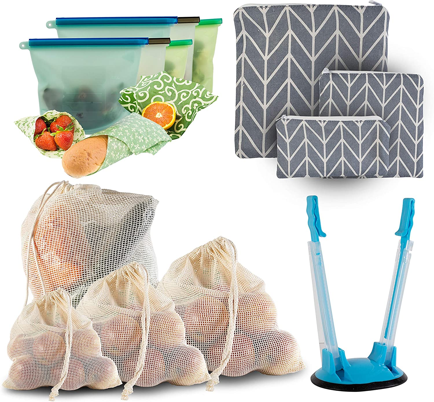 Huge 17 Pc Food Storage Set – Reusable Mesh Produce Bags, Reusable Beeswax Food Wraps, Reusable Silicone Food Storage Ziplock Bags and Reusable Zipper Snack/Sandwich Bag Pouches; Zero Waste Products