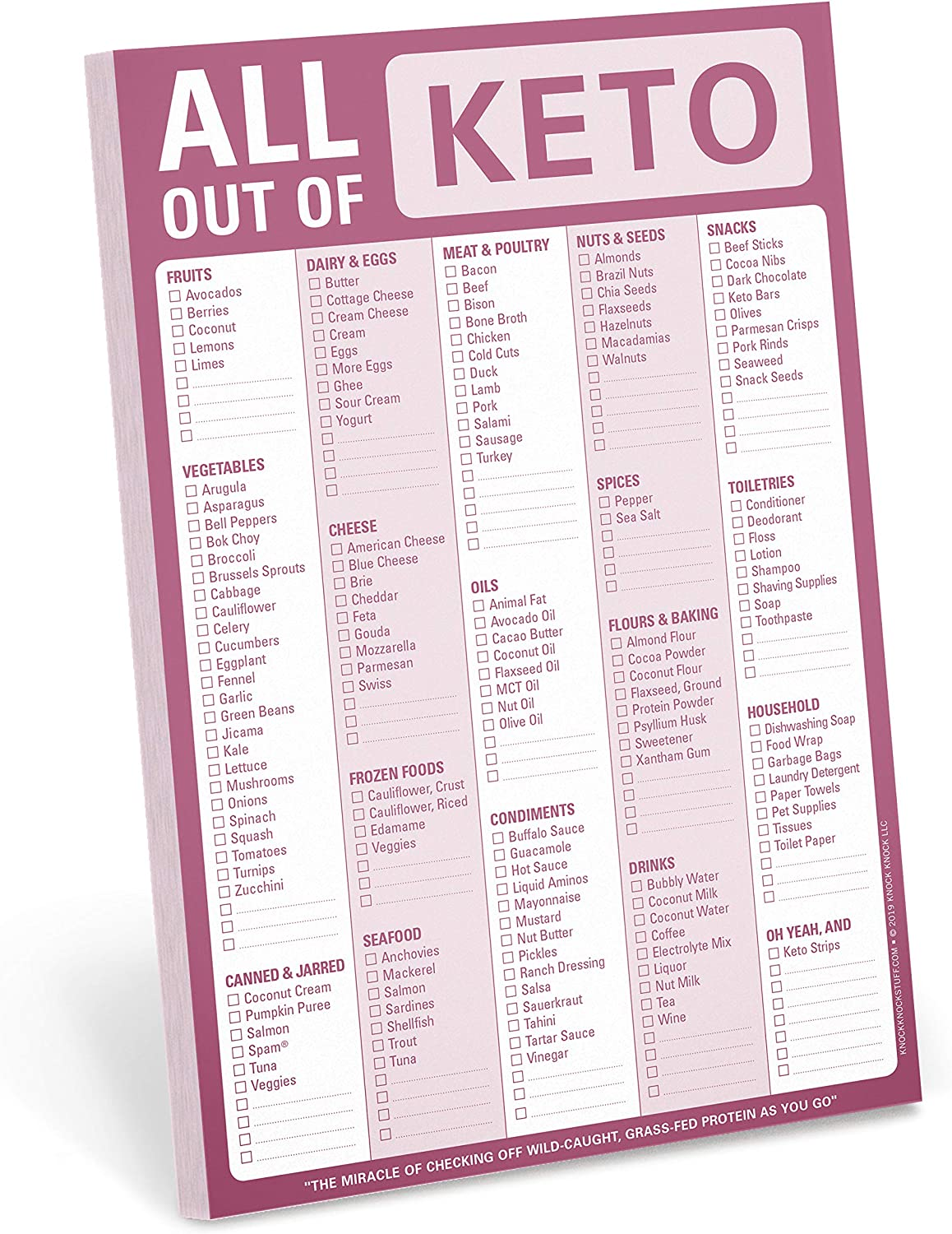 Knock Knock All Out Of Pad (Keto), Keto Diet Grocery List Note Pad, 6 x 9-inches