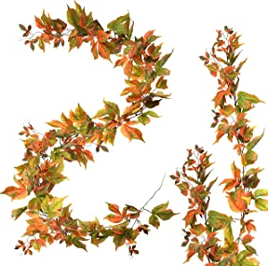 3 PCS Fall Maple Garland | 6.5ft/Piece Artificial Leaves Foliage Autumn Leaf Decor for Home Mantel Decoration Thanksgiving Christmas Wedding Party