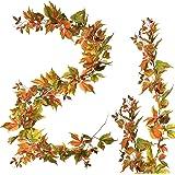3 PCS Fall Maple Garland   6.5ft/Piece Artificial Leaves Foliage Autumn Leaf Decor for Home Mantel Decoration…