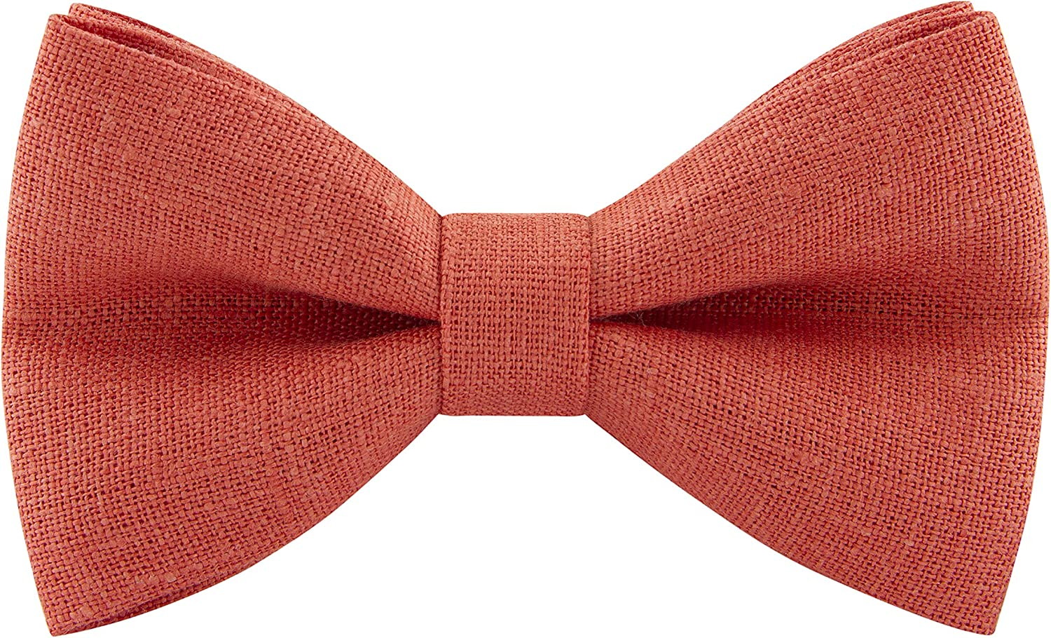 by Bow Tie House Small, Blush Pink Linen Classic Pre-Tied Bow Tie Formal Solid Tuxedo
