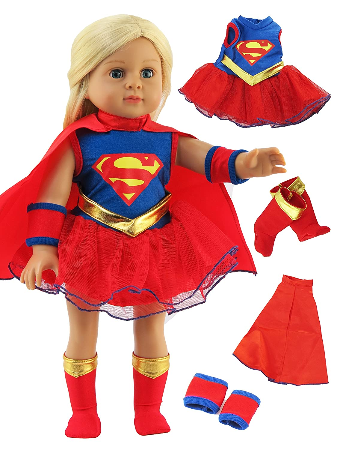 Super Girl Costume - 18 Inch Doll Clothes - Fits 18 American Girl Dolls, Madame Alexander, Our Generation, etc. Great Quality - Beautiful FabricsDOLL NOT INCLUDED American Fashion World