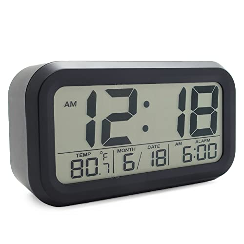 JCC Innovation Smart Light Technology Night Vision Easy Read Bold Number Display Digital Alarm Clock with Snooze, Date and Temperature Display - Battery Operated (Black)