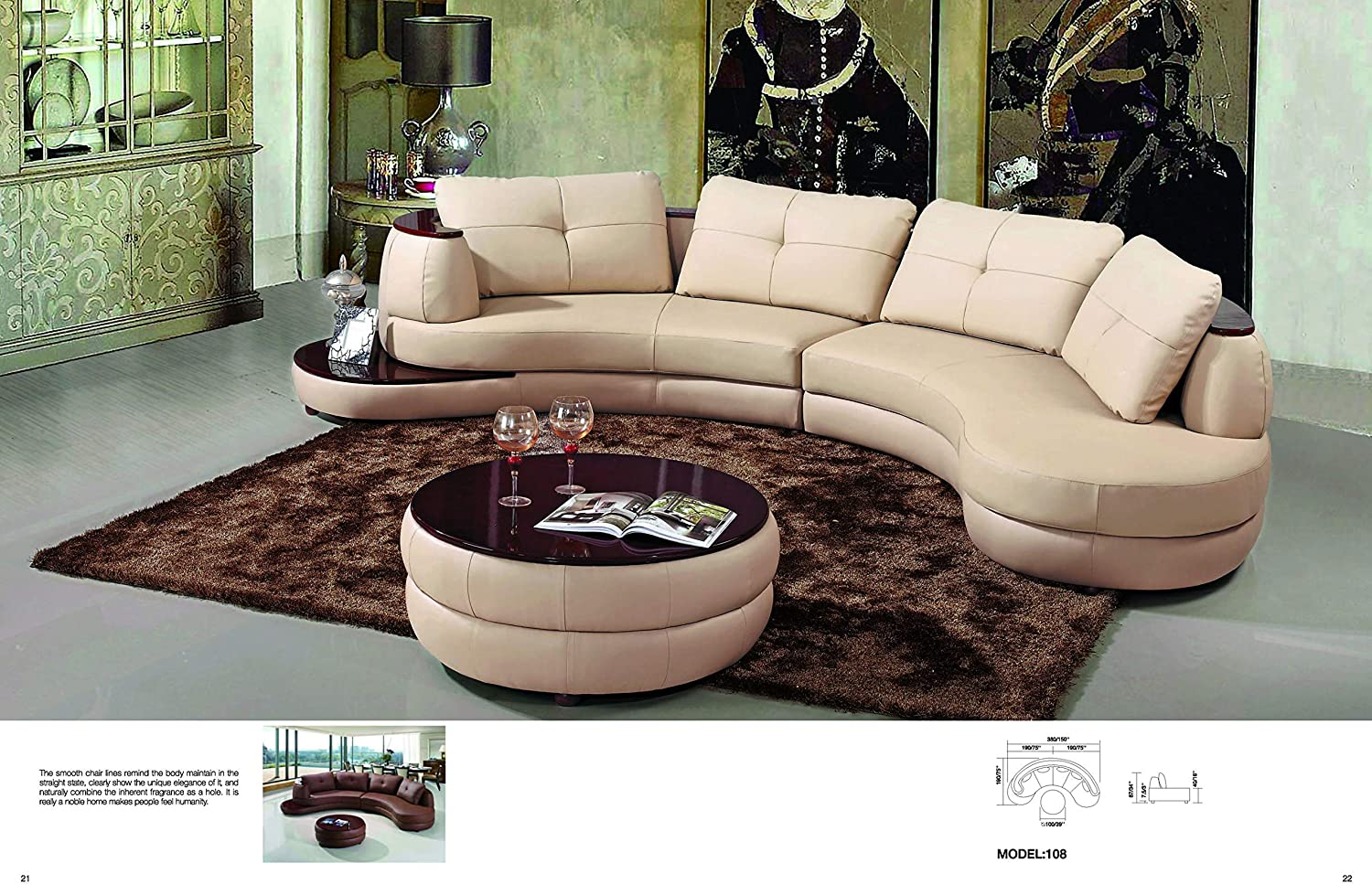 Amazon.com: My Aashis Vicenza Modern Beige Leather Sectional ...