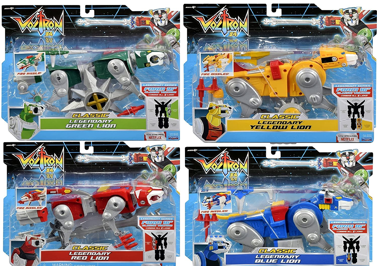 Voltron Classic Combining Lion Blue, Red, Green /& Yellow Action Figure Set of 4 Playmates