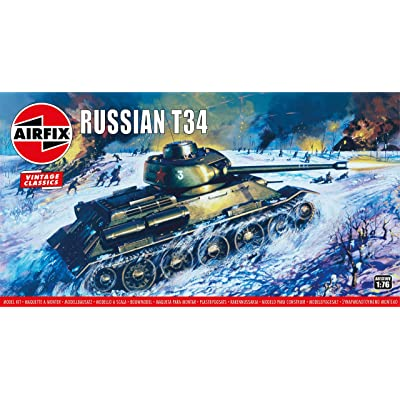 Airfix Russian T34 Medium Tank 1:76 Vintage Classic Military Plastic Model Kit A01316V: Toys & Games