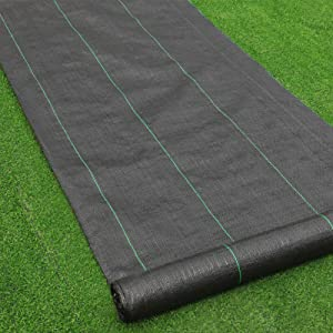 Goasis Lawn Weed Barrier Control Fabric Ground Cover Membrane Garden Landscape Driveway Weed Block Nonwoven Heavy Duty 125gsm Black,4FT x 100FT