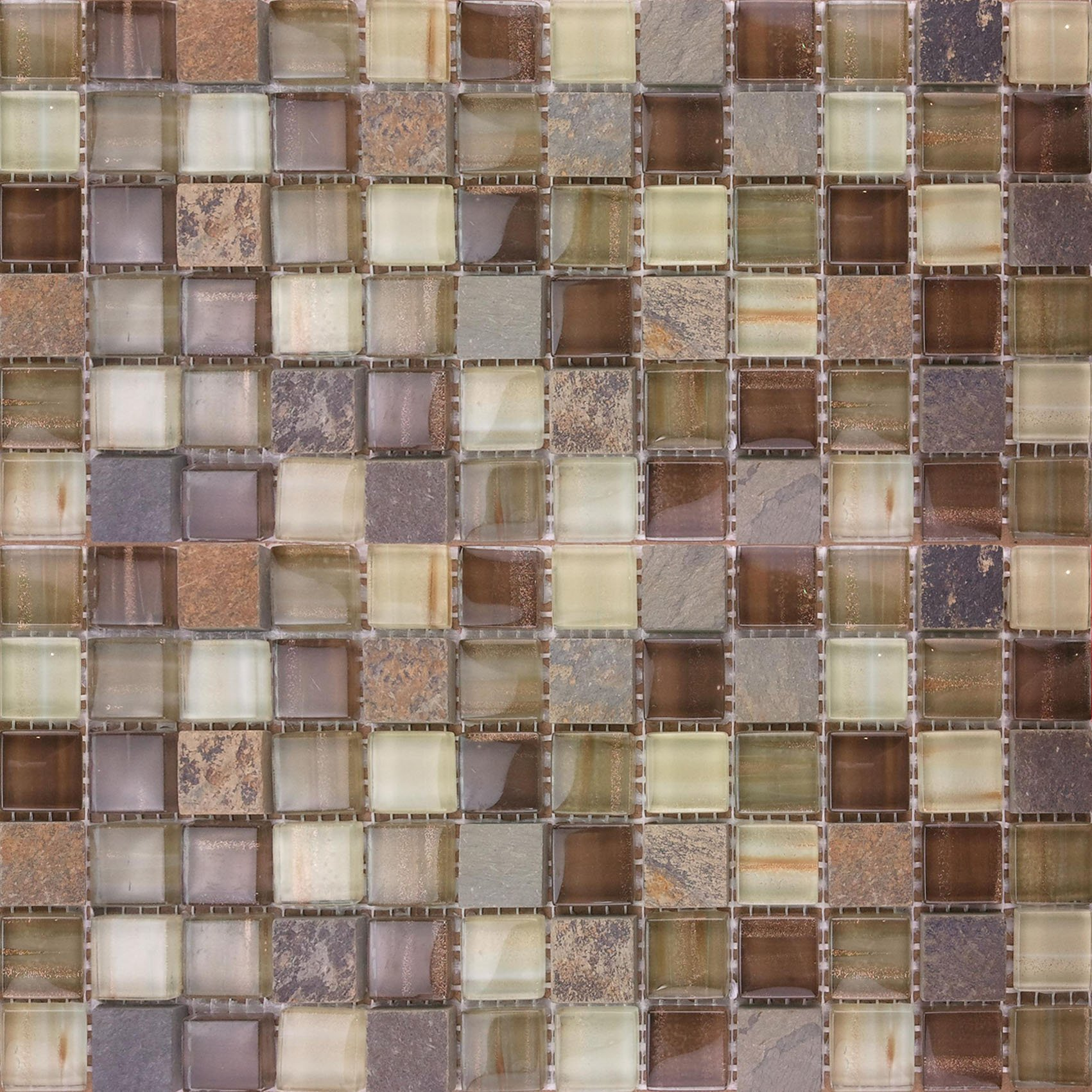 Glass Stone Mosaic Tile Backsplash - 11.40''x11.40'' RioLite - Kitchen Bath Wall by Crystalcor USA