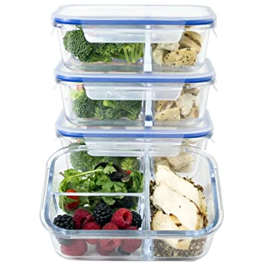[Large Premium 4 Pack] 3 Compartment Glass Meal Prep Containers w/New Divider Seal Tech Best Quality Snap Locking Lids Airtight 8 Pcs Glass Food Containers Set BPA-Free (5 Cups, 39 Oz)