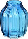CASAMOTION Ribbed Hand Blown Solid Color Art Glass Vase, Gift Box, Blue, 8 Inch