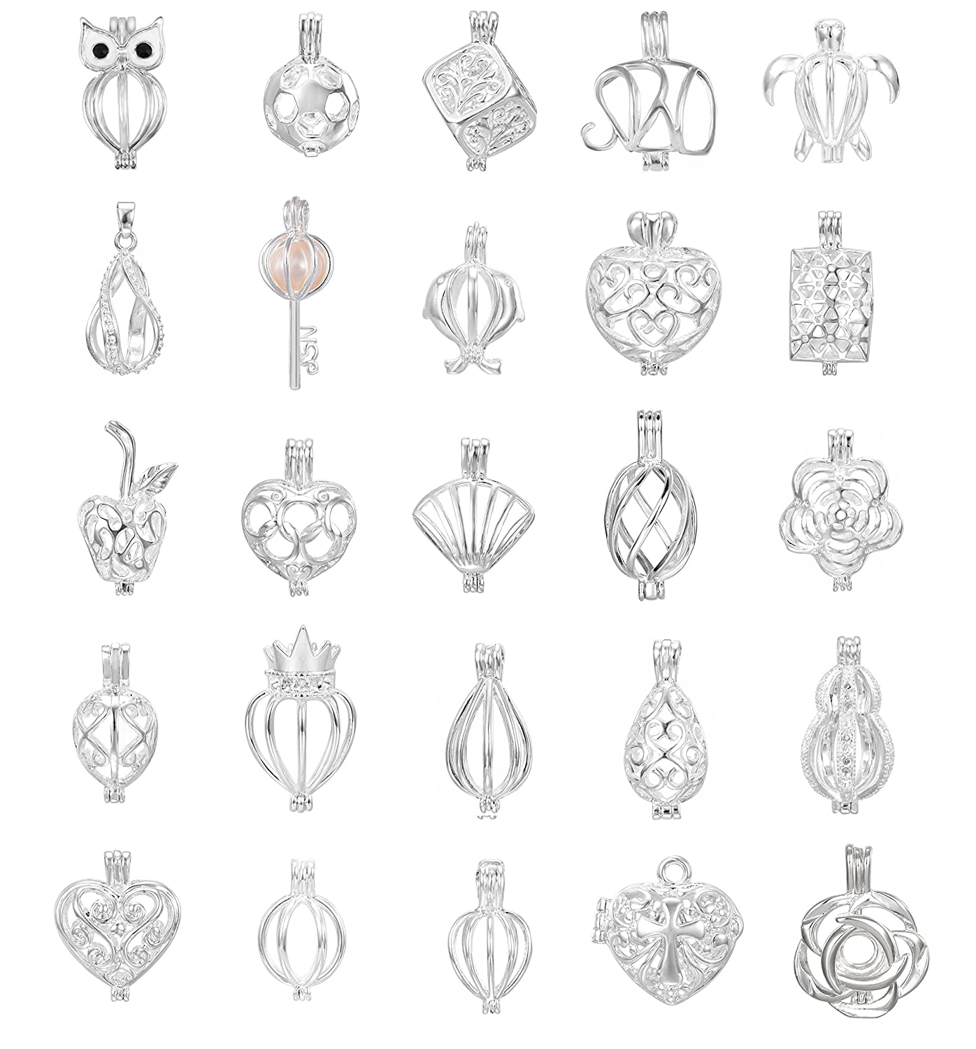 10pcs Mix Jewelry Making Supplies Silver Plated Bead Cage Pendant - Add Your Own Pearls, Stones, Rock to Cage,Add Perfume Essential Oils to Create a Scent Diffusing Pendant Charms YCLoket