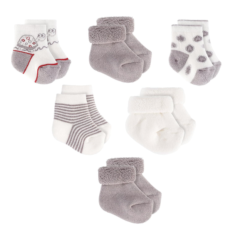 Jacobs Chaussettes bébé lot de 6 paires Chaussettes naissance bébé en coton Taille 0 à 3 mois Oeko Tex Standard 100 Unisexe écru et gris