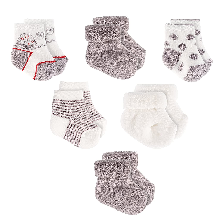 Baby Socken/Erstlings-Söckchen/Erstlingssocken - 6er Pack (0-3 Monate) Baumwolle, Schadstoffgeprüft - Ecru Grau Jacobs Babymoden
