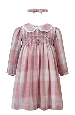a76b3d96c AURORA ROYAL Pink Check Hand-Smocked Natalie Dress: Amazon.co.uk: Clothing