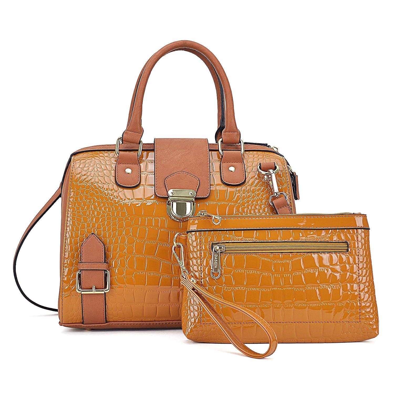 Crocobrown Handbags for Women Top Handle Shoulder Bags Satchel Tote 2 Pcs Purse Wallet Set Boston Bags