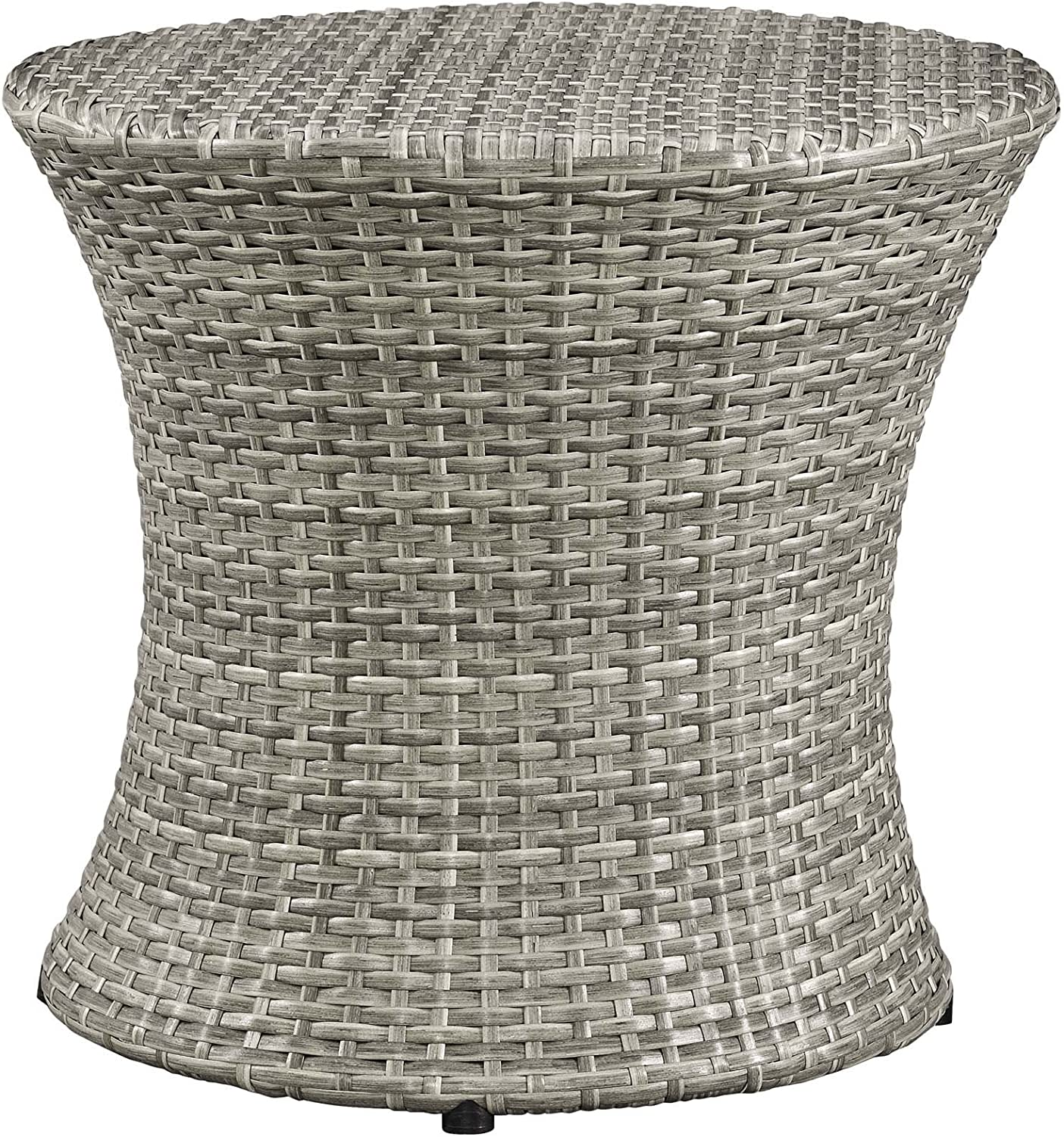 Modway Stage Wicker Rattan Outdoor Patio Side End Table in Light Gray