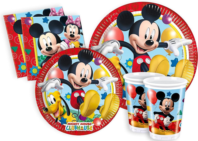 Ciao Y2496 - Set de Fiesta para mesa, de Disney Mickey Mouse Club House Para 8 Personas (44 Piezas: 8 Platos Grandes, 8 Platos Medianos, 8 vasos, 20...