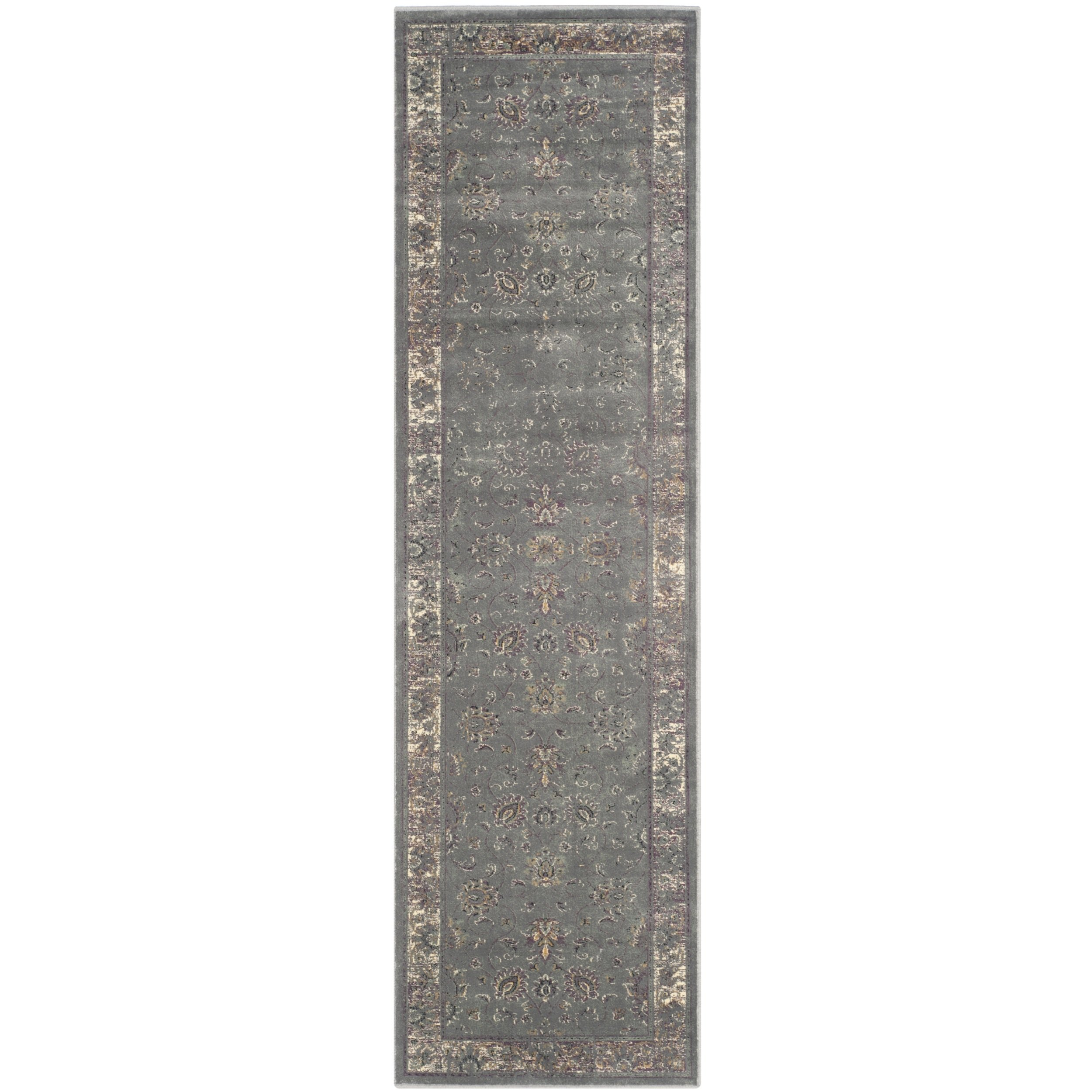 Safavieh Vintage Premium Collection VTG117-2770 Transitional Oriental Grey and Multi Distressed Silky Viscose Runner (2'2'' x 10') by Safavieh