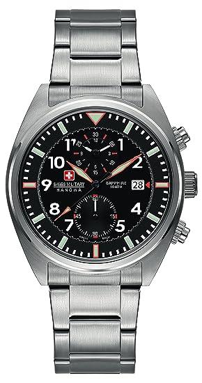 Swiss Military SM34222AEU/H01MS - Reloj de cuarzo para hombres con esfera negra y correa plateada de acero inoxidable: Amazon.es: Relojes